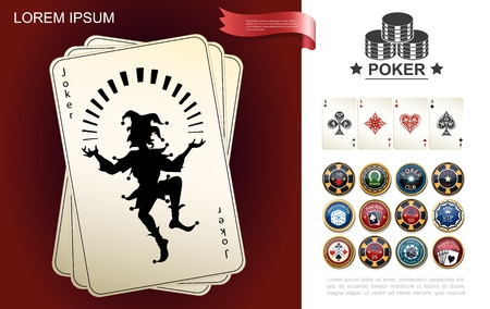 Casino and gambling composition with joker and aces playing cards poker chips in realistic style vector illustration