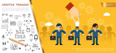 Flat business idea concept with male hand replaces head of businessman with lightbulb and creative big idea hand drawn icons vector illustration