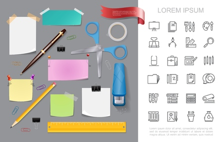 Realistic stationery colorful concept with stapler scissors pen pencil paper note stickers pushpins adhesive tape ruler binder clips office stationary linear icons vector illustration