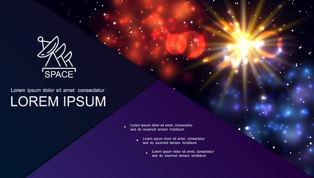 Realistic galaxy bright composition with outer space stars sunshine effects red and blue nebula vector illustration