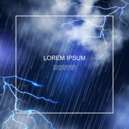 Realistic water storm poster with frame for text heavy rain clouds and thunderbolts on night sky background vector illustration