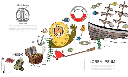 Hand drawn marine elements concept with diver in vintage helmet chest of treasure shop lifebuoy paddle crab fish anchor lighthouse corals vector illustration Stock Illustratie