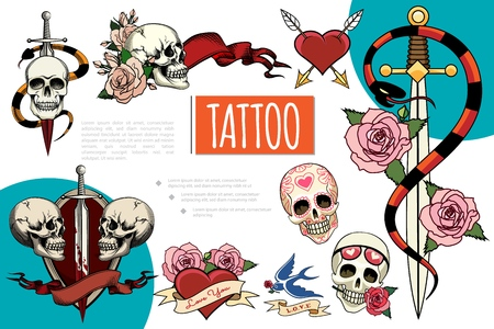 Hand drawn tattoo elements composition with human skulls sword in blood snakes rose flowers swallow ribbons heart pierced with arrows vector illustration