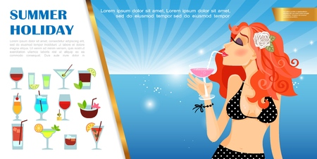 Flat summer vacation template with beautiful woman sipping cocktail on sea landscape and alcohol drinks set vector illustration