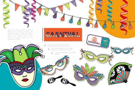 Flat carnival bright composition with masquerade masks jester hat fan maracas tickets colorful ribbons garland vector illustration Stock Illustratie