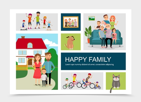 Flat happy family concept with animals mother father children riding bicycles rollers skateboards standing near house big family sitting on sofa vector illustration