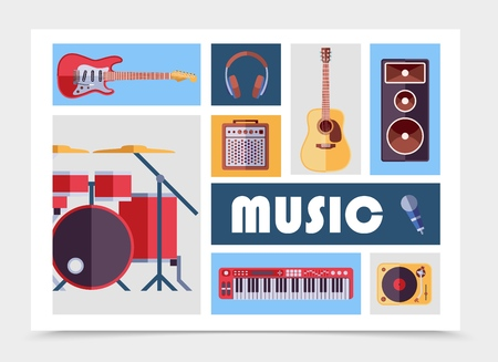 Flat musical instruments set with electric and acoustic guitars headphones subwoofer audio speaker microphone vinyl player drum kit synthesizer isolated vector illustration