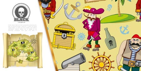 Cartoon pirates adventure concept with chest of gold coins treasure map bottle of rum ship anchor cannon steering wheel uninhabited island vector illustration