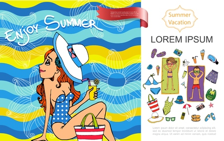 Sketch summer vacation concept with pretty woman in swimwear and hat holding cocktail, people sunbathing on towels beach resort elements. Vector illustration. Ilustracja