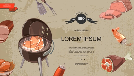 Cartoon meat products colorful template with barbecue ham spatula fork chicken legs pork knuckle belly ketchup mayonnaise on vintage background vector illustration