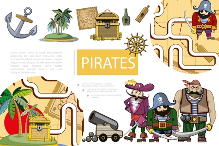 Cartoon pirates adventure composition with ship anchor island map treasure chest bottles of rum steering wheel cannon pirate characters and game labyrinth vector illustration