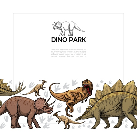 Hand drawn prehistoric reptiles template with frame for text ferocious t-rex parasaurolophus triceratops stegosaurus dinosaurs vector illustration