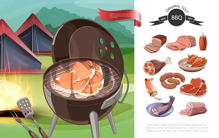 Cartoon bbq party concept with barbecue tents ketchup different meat and fish products vector illustration Illustration