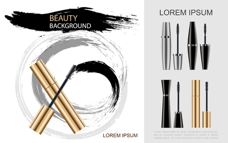 Realistic mascara brush concept with black silver golden tubes and cosmetic brush smears. Vector illustration. Vettoriali