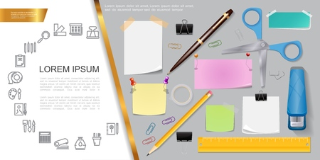 Realistic stationery composition with colorful office accessories tools equipment and stationary linear icons vector illustration
