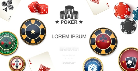 Realistic poker colorful concept with chips, dices, aces and joker cards. Vector illustration.