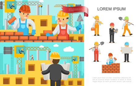 Flat construction industry colorful concept with builders build brick wall engineer people working on construction cranes