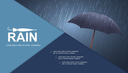 Realistic water storm colorful composition with blue umbrella under heavy rain 일러스트