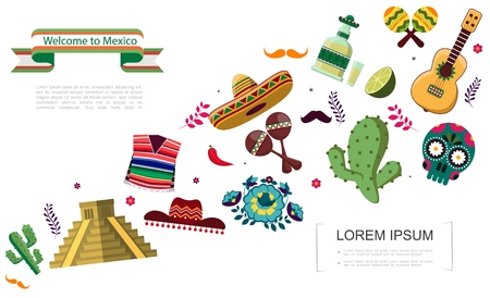Flat Welcome To Mexico concept 일러스트