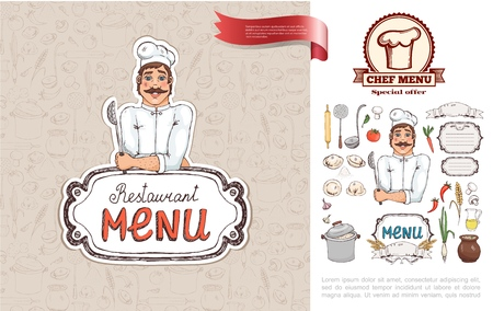 Hand drawn Russian cuisine restaurant concept with chef holding strainer vegetables kitchenware juice mushrooms bowl of soup dumplings vector illustration