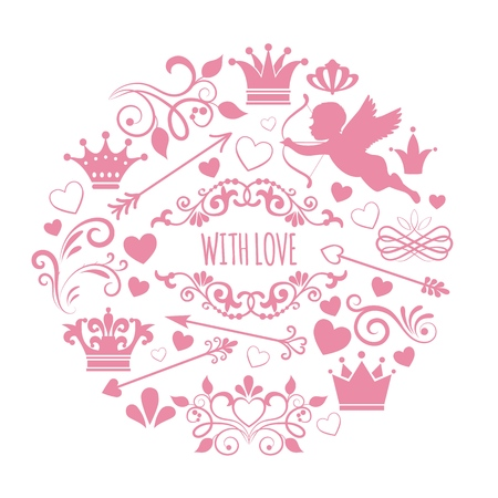 Vintage design elements round concept with amour arrow heart crown decorative swirls curls calligraphic lines and vignettes vector illustration