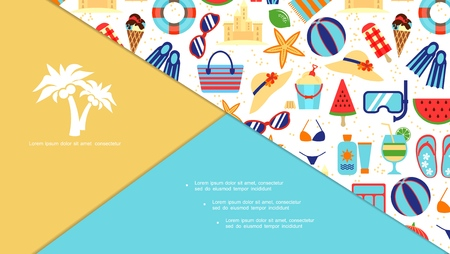 Flat beach vacation elements composition with lifebuoy starfish ball sunscreen cocktail hat bag sunglasses ice cream watermelon flippers sand castle vector illustration Illustration