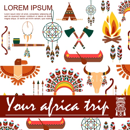 Flat african ethnic concept with bow arrows crossed tomahawks feathers headwear bull skull dream catcher bonfire smoking pipe boat wigwam vector illustration