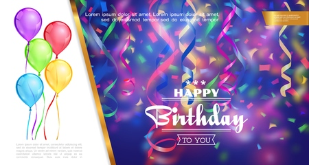 Realistic happy birthday template with colorful balloons falling ribbons and confetti on blurred background vector illustration Stock Illustratie