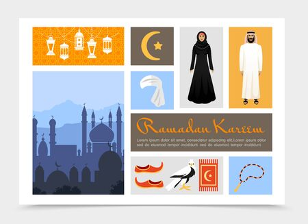 Flat Arabic culture composition with Ramadan Kareem lanterns muslim man and woman Islam symbol rosary keffiyeh falcon traditional shoes night arab cityscape vector illustration