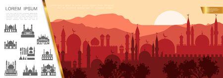 Flaches arabisches stadtschattenbildkonzept mit islamischen gebäuden des moslemischen stadtbildes und moscheenvektorillustration