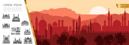 Flat arab city silhouette concept with muslim cityscape islamic buildings and mosques vector illustration Vettoriali