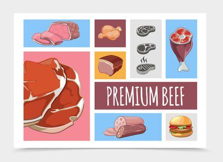 Cartoon-Fleisch-Food-Kollektion mit Rindersteaks Schweinshaxe Hähnchenschenkel Burger Schinken Salami Vektor-Illustration