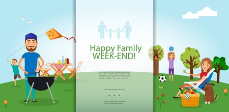 Flat family barbecue party template with father mother son daughter and dog rest outdoors vector illustration