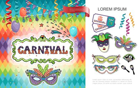 Flat carnival colorful concept with masquerade masks circus tickets fan maracas ribbons garland balloons and diamonds pattern vector illustration Stok Fotoğraf - 129500219