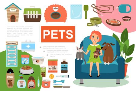 Flat pets composition with girl cat dog sitting in armchair kennel carrier food leash collar shampoo medical box comb syringe bowls vector illustration Stock Illustratie