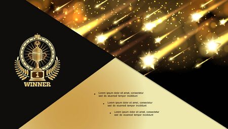 Abstract awards night shiny composition with falling glittering bright stars spotlights and award label vector illustration Illustration