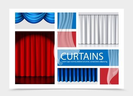 Realistic curtains composition with blue white red beautiful curtains of different texture vector illustration
