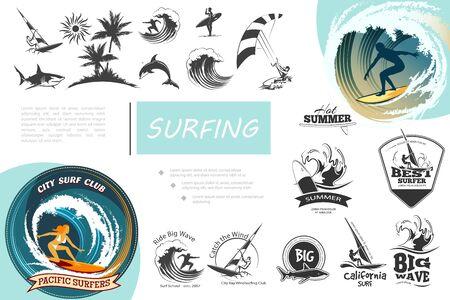 Vintage surfing elements set with windsurfing surf van sea waves kitesurfing palm trees shark dolphin and monochrome surfing emblems vector illustration Illustration
