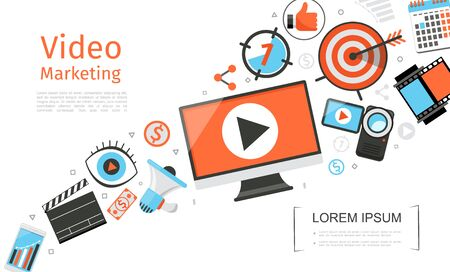 Flat business video marketing template with monitor clapper board mobile megaphone dollar banknote camera calendar target filmstrip vector illustration