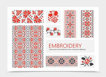 Embroidered colorful ornaments composition with roses leaves slavic traditional ethnic patterns vector illustration