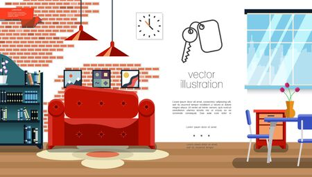 Flat living room interior template with sofa table chairs carpet plants clocks picture frames books on shelves lamps nightstand brick wall design vector illustration