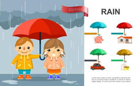 Flat rain bright concept with kids with umbrella standing under rain and money car house protection against storm vector illustration Çizim