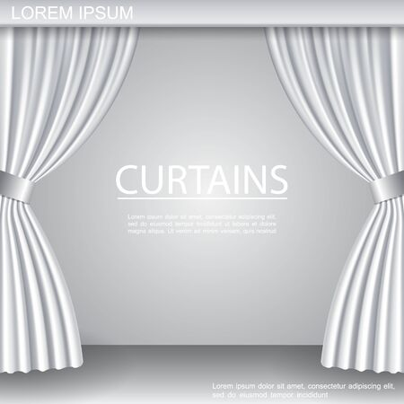 White luxurious elegant opened curtains template on theater stage in realistic style vector illustration