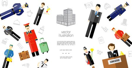 Flat hotel staff template with policeman waiter concierge maid porters security guard manager characters and different hotel icons vector illustration Foto de archivo - 129499066