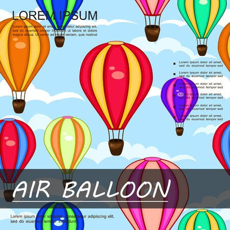 Air trip colorful background with hot air balloons flying in clouds in flat style vector illustration Illusztráció