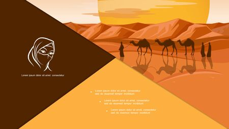 Flat arabic and islamic composition with arab people and camels caravan travel in desert sand vector illustration Illusztráció
