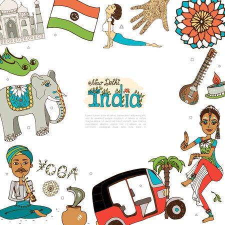 Flat Travel To India template with indian people flag elephant Taj Mahal tuk tuk veena candle mandala patterns traditional shoes palm tree vector illustration Illustration