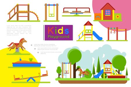 Flat amusement park colorful composition with different carousels toy house sandbox swing slides horizontal bars vector illustration