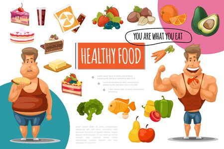 Cartoon healthy food concept with sweet products fruits berries nuts vegetables fish fat and muscular men vector illustration Illustration