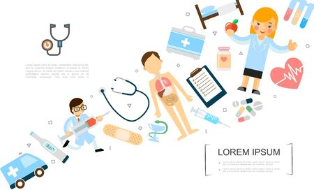 Flat medicine and healthcare concept with doctor running with syringe body anatomy nurse holding apple ambulance car and medical equipment vector illustration Stock Illustratie